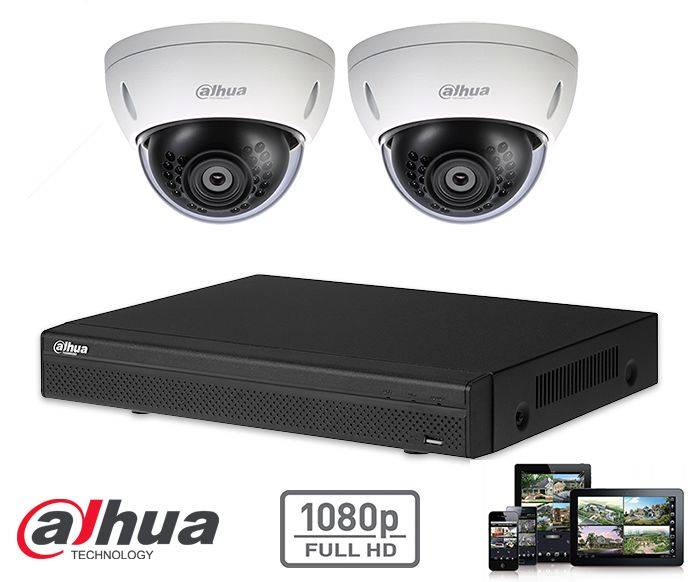 The Dahua HD-CVI kit 2x dome 2mp Full HD camera security set contains 2 HD-CVI dome cameras, which are suitable for indoors or outdoors. The cameras provide a Full HD image quality with IR LEDs for a perfect view in darkness.
