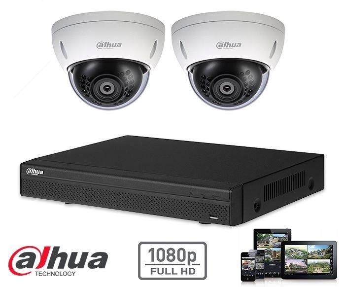 El kit de seguridad de la cámara Dahua HD-CVI 2x domo 2mp Full HD contiene 2 cámaras domo HD-CVI, que son adecuadas para interiores o exteriores. Las cámaras proporcionan una calidad de imagen Full HD con LED IR para una visión perfecta en la oscuridad.