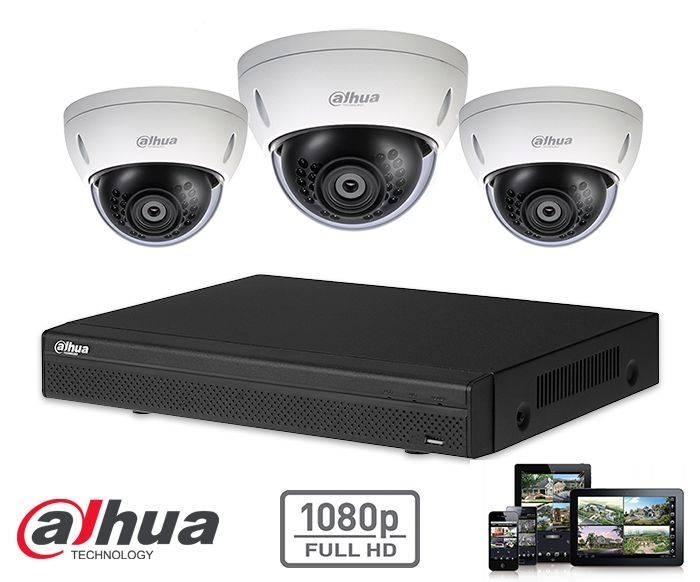 El kit kit de la cámara de seguridad domo HD 2MP 3x Dahua HD CVI incluye tres cámaras domo CVI HD, que son adecuados para interiores o exteriores. Las cámaras proporcionan una calidad de imagen Full HD con LEDs IR para una perfecta visibilidad en la oscur