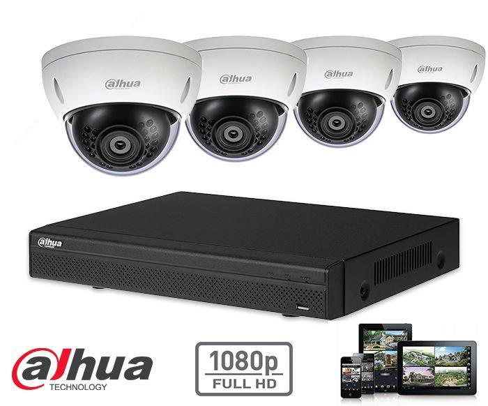 The Dahua HD-CVI kit 4x dome 2mp Full HD camera security set contains 4 HD-CVI dome cameras, which are suitable for indoors or outdoors. The cameras provide a Full HD image quality with IR LEDs for a perfect view in darkness.