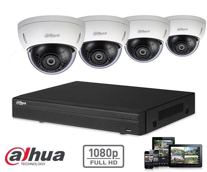 El kit de seguridad de la cámara Dahua HD-CVI 4x domo 2mp Full HD contiene 4 cámaras domo HD-CVI, que son adecuadas para interiores o exteriores. Las cámaras proporcionan una calidad de imagen Full HD con LED IR para una visión perfecta en la oscuridad.