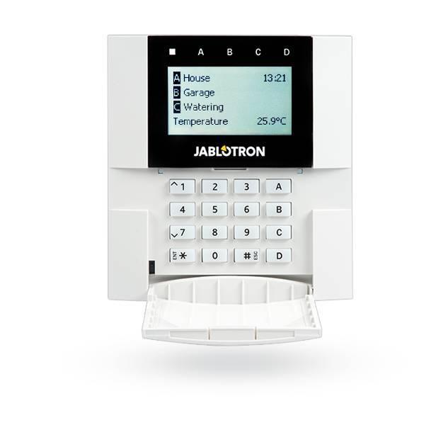 Jablotron JA-150E è un pannello di controllo del codice bidirezionale completamente wireless. Questo può essere collegato a tutti i pannelli della serie Jablotron 100. Questa tastiera a codice compatta include un display LCD, pulsanti di controllo e un le