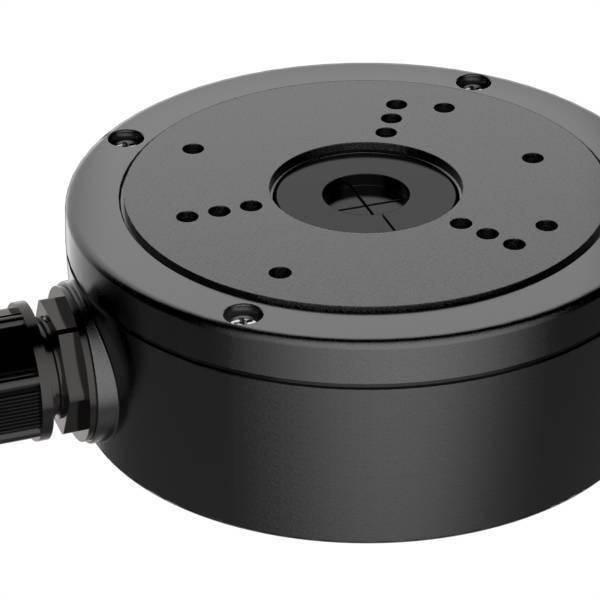 Zwarte montagebox voor o.a.  DS-2CD2Txx Black<br /> <br /> Afmetingen Φ137x51.5mm<br /> Gewicht 527g