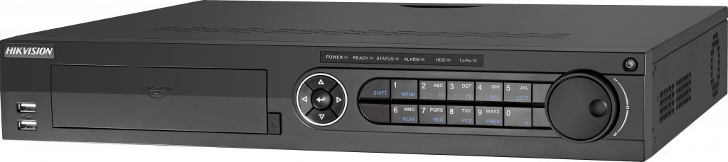 Hikvision DS-7332HUHI-K4 high-end DVR. Suitable for 32 pcs 5mp Turbo HD cameras and 8 pcs IP cameras of 8Mp. 4x SATA connection.