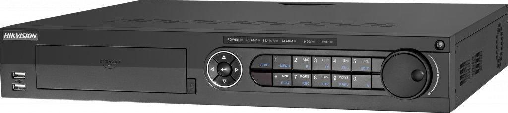 DVR high-end Hikvision DS-7332HUHI-K4. Adequado para 32 peças 5mp Turbo HD câmeras e 8 câmeras IP de 8Mp. Conexão SATA 4x.