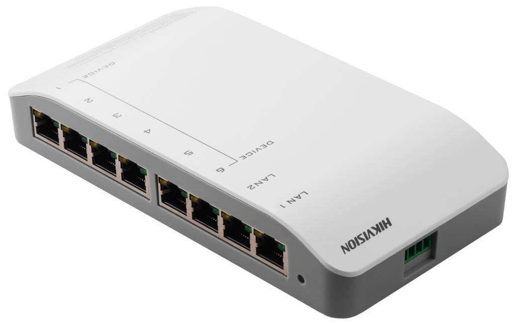 El Hikvision DS-KAD606 es un distribuidor de audio / video integrado que admite alimentación a través del cable de red. DS-KAD606P Interruptor de distribución de video / audio con conexión de red de 6 x 10 / 100Mbps que proporciona 24Vdc para dispositivos