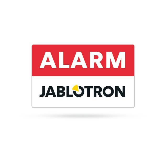 Assign customers, employees and passers-by to your alarm system. This professional warning sticker from Jablotron scares off and can therefore save a lot of annoyance. The stickers are single-sided and weather-resistant. 38 x 28mm