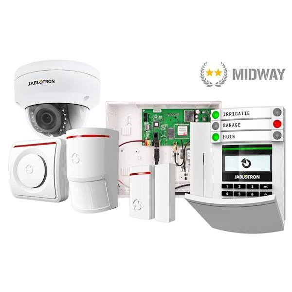 The Jablotron Midway is the ideal system for small business applications and individuals who want home-automation applications. The control panel has room for 50 devices such as magnetic contacts, motion detectors, sirens etc.