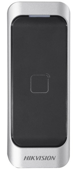 The DS-K1107M is a card reader from the access control line of Hikvision. The card reader can be connected via RS-485 or Wiegand. The beautifully designed card reader can be used both indoors and outdoors. The card reader can read MiFare cards and be conn
