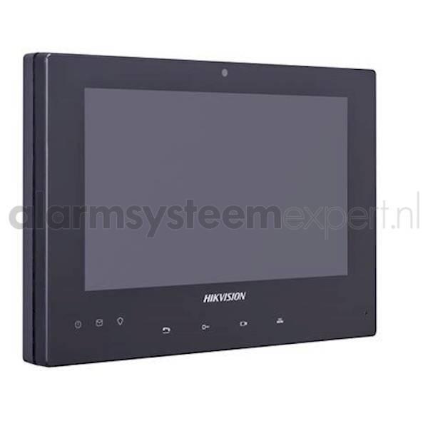 """De 2-draads video intercom binnen monitor van Hikvision is geschikt voor zowel woningen als bedrijven.  De LCD binnenpost beschikt over een helder 7"""" touchscreen. Hierop kunt het intercomsysteem volledig bedienen. De binnenpost beschikt over een SD-card s"""