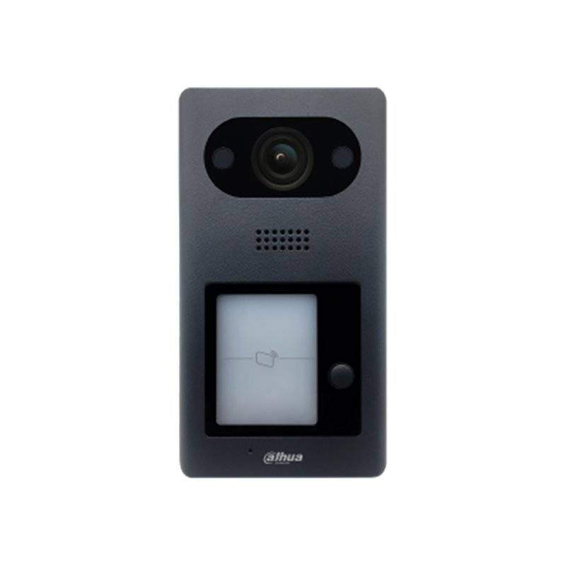 O Dahua VTO3211D-P é um posto avançado de interfone multifuncional. Este interfone possui 1 botão de pressão destinado a um quarto. Um ângulo de visão muito amplo de 140 graus e proximidade para abertura remota da porta ou portão. O VTO3211D-P é adequado
