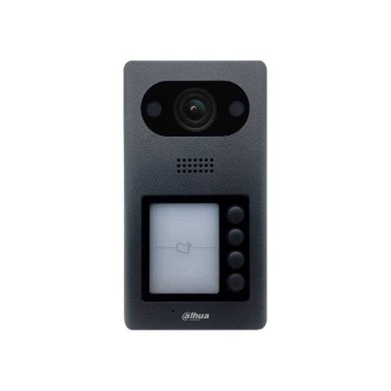 Il Dahua VTO3211D-P4 è un avamposto interfono multi-funzionale. Questo citofono ha 4 pulsanti per, ad esempio, 4 appartamenti o camere. Un angolo di visione molto ampio di 140gr e lettore Mifare per l'apertura a distanza della porta o del cancello. VTO32