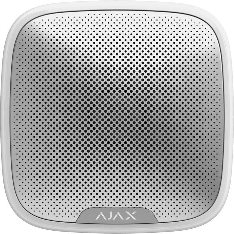 Ajax street siren outdoor siren wireless with an adjustable sound level between 81 and 105 dB. Connects to an Ajax Hub up to a maximum distance of 2,000 meters (open field). With a red LED border which lights up when an alarm occurs.