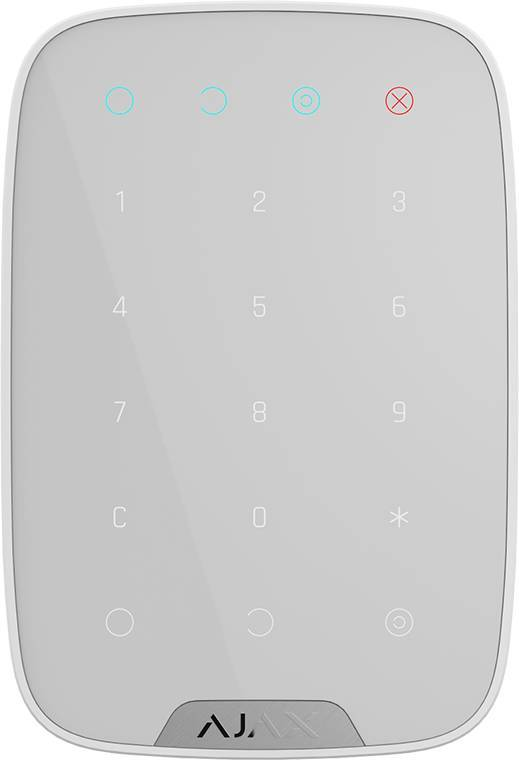 Ajax KeyPad operates the Ajax security system. Power on the system with a single key or code. Use a duress code to send a silent alarm to an emergency room.