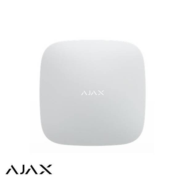 White version. The Ajax Hub is the heart of the security system. The Hub can connect to up to 100 wireless components and comes standard with LAN and GSM backup. The advanced Jeweler technique allows wireless connection with distances up to 2000 meters.