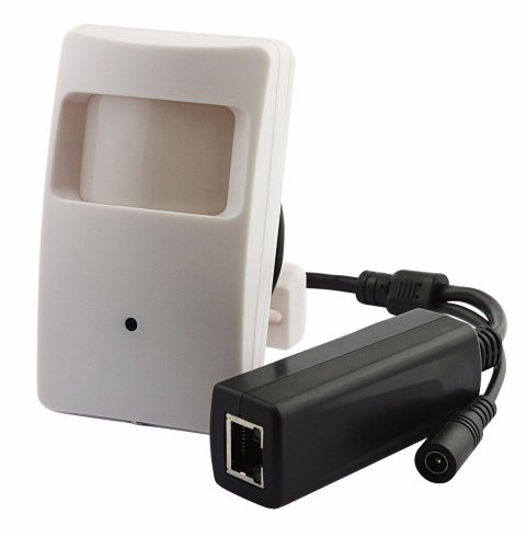 Motion detector with IP camera Full HD with PoE, plug and play to connect to a Hikvision recorder with PoE. Small model motion detector. Viewing angle approx. 90 degrees. Camera can tilt for better adjustment via supplied wall bracket. Because the camera