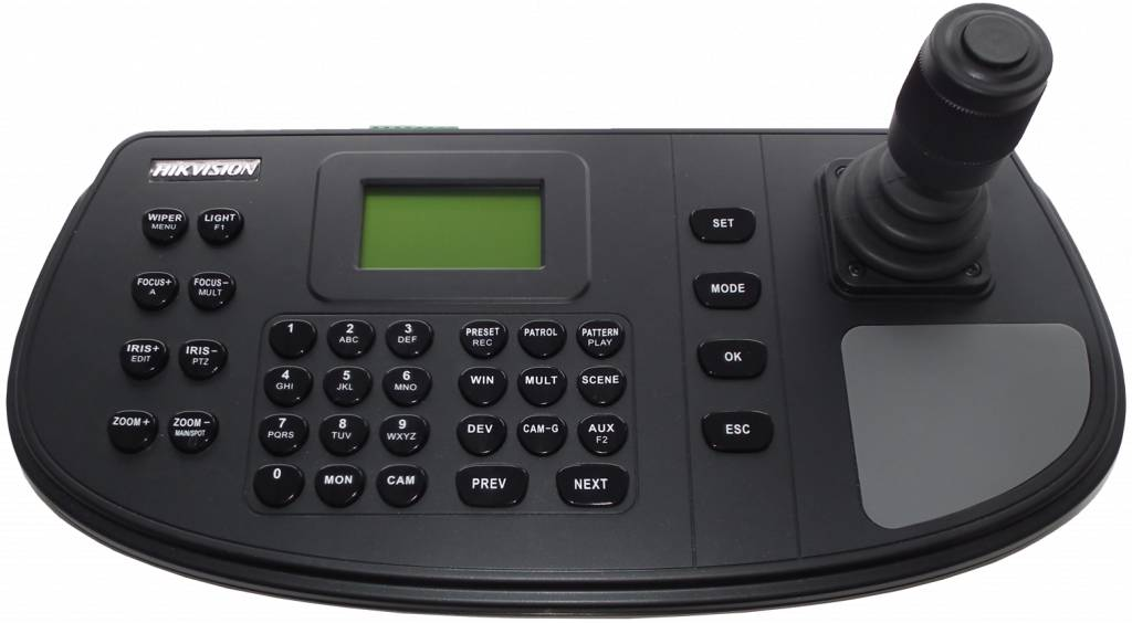 Network control keyboard with LCD dsipla 128x64, 4 axis joystick, control of DVR / NVR, Network camera / Speed dome, configuration possible via webbrowser, up to 1000 devices can be managed, 16 users (1 admin / 15 operators). USB2.0 interface for backup
