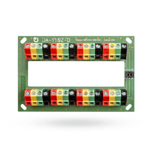 This module is designed to connect the conductors of complex bus systems of the JABLOTRON 100 system. It can be divided into two independent bus tracks by disconnecting jumpers.