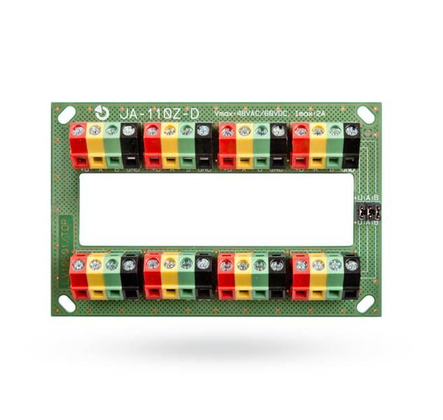 Este módulo é projetado para conectar os condutores de sistemas de barramento complexos do sistema JABLOTRON 100. Pode ser dividido em duas linhas de ônibus independentes, desconectando os jumpers.
