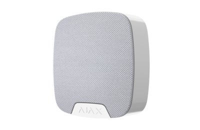 Ajax HomeSiren indoor siren with an adjustable sound level between 81 and 105 dB with a contact for optional external LED control. Connects to an Ajax Hub up to a maximum distance of 2000 meters (open field).