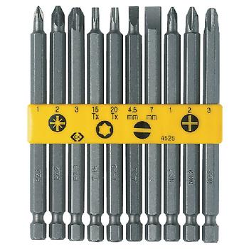 10-delige BIT-set, bestaande uit: <br /> <br /> • 2 Normale bits (4.5 &amp; 7.0 mm)<br /> • 3 Kruiskop bits (PH1, PH2 &amp; PH3)<br /> • 3 Pozidrive bits (PZD1, PZD2 &amp; PZD3)<br /> • 2 TORX bits (TX15 &amp; TX20)