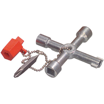 Universele sleutel voor schakelkasten van bijvoorbeeld meterkasten, CAI-systemen en airconditioners.