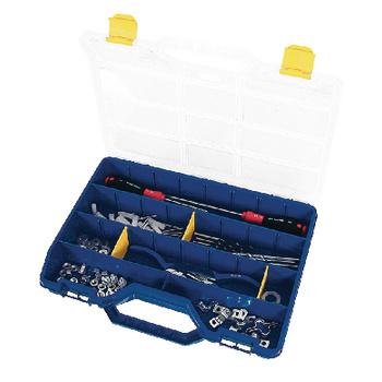 Blauwe assortimentskoffer met transparante deksel van sterke en duurzame kwaliteit. Door middel van losse schotjes is de vakverdeling, van 5 tot 26 vakken, zelf zeer eenvoudig aan te passen.