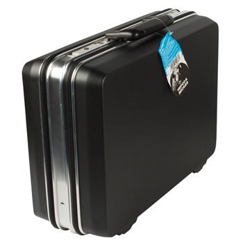 """""""Budget-serie"""" , vervaardigd uit zwart ABS kunststof. <br /> Uitvoering: Voorzien van 1 werktafel en ABS binnenbak met verstelbare scheidingsschotten."""