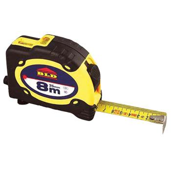 • Afmetingen: 8 m / 25 mm breed<br /> • Gele ABS behuizing<br /> • Zwart rubberen behuizing<br /> • Mat geel stalen lint<br /> • Met zelfsluitend systeem<br /> • Verchroomd eind haak met 3 &amp; 4 nagels<br /> • Twee magneten op de eindhaak<br /> • Met broekclip<br /> • Met handkoord
