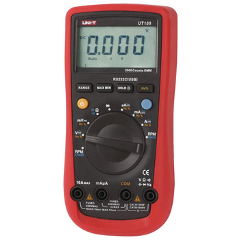UT58B: Socket display, temperature measurement, diode measurement, transistor measurement<br /> UT107: Battery tester (12 V), temperature measurement, speed measurement, continuity/diode test, frequency<br /> UT109: Dwell and tachometer for 4-6-8 cylinder engines