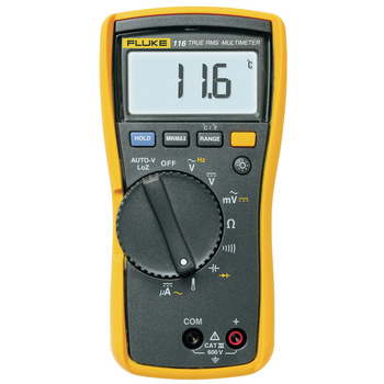 Fluke 116 Digital Multimeter <br /> With Temperature and Microamps<br /> The Fluke 116 is for heating, ventilation and air<br /> conditioning (HVAC) engineers. It includes<br /> temperature measurement and microamp<br /> current ranges to quickly troubleshoot HVAC<br /> problems.