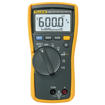 Fluke 114 Electrical Multimeter <br /> Compact design for ergonomic one-handed operation<br /> The Fluke 114 is for electrical troubleshooting and<br /> straightforward 'go/no-go' in residential/<br /> commercial testing. It has all the basic<br /> functions plus a special feature to
