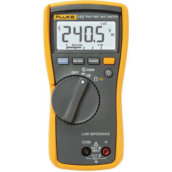 The Fluke 113 Digital Multimeter <br /> Compact design for ergonomic one-handed operation<br /> The Fluke 113 is for basic electrical tests and<br /> repairing most electrical problems. Features<br /> include Fluke's VCHEK™, added measurement <br /> functions, backlight and conformanc