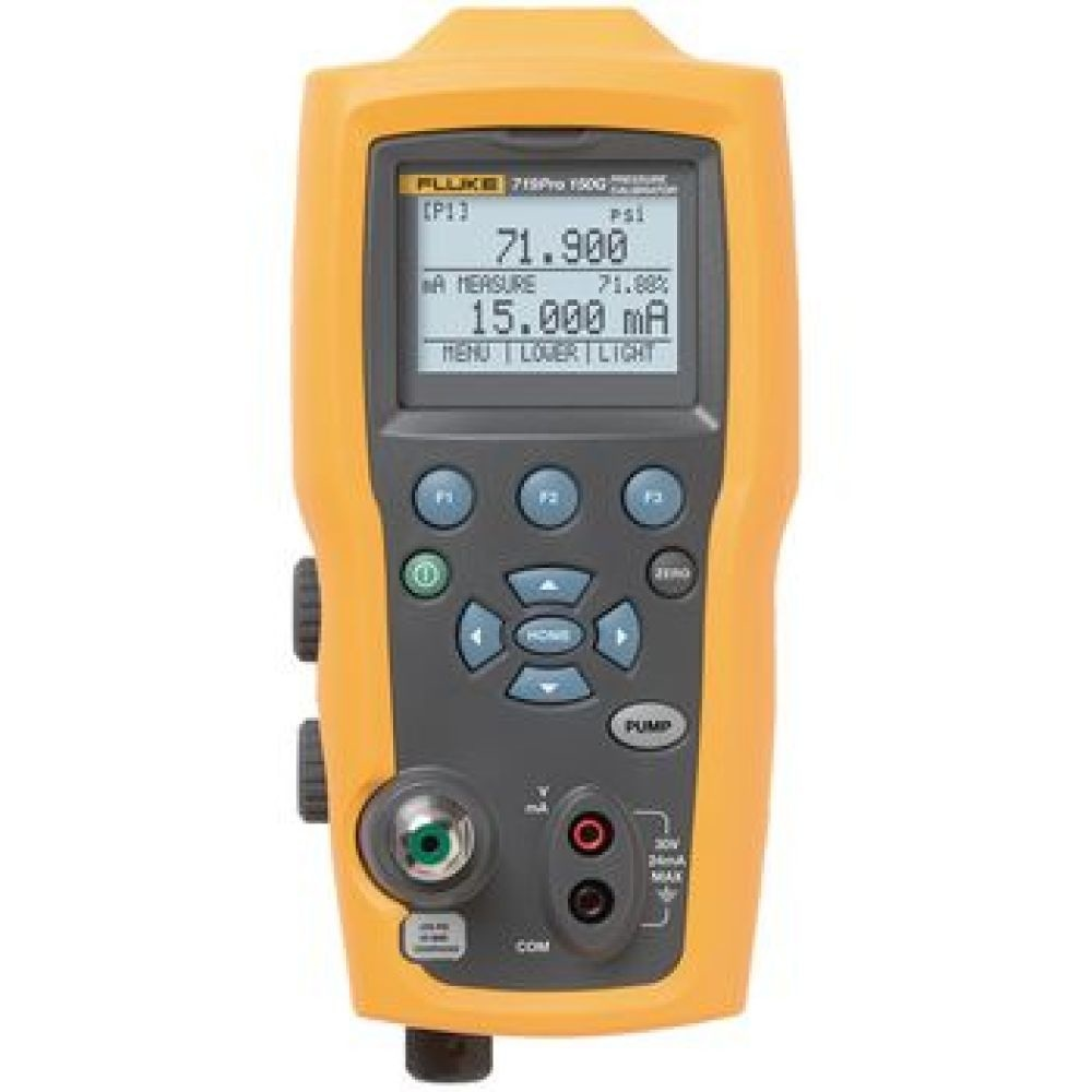 Electric Pressure Calibrator for calibrating transmitters, pressure switches and pressure gauges<br /> Full functioning loop calibrator that sources, simulates and measures mA signals<br /> Large backlit screen displays three parameters at once<br /> Integrated electric pu