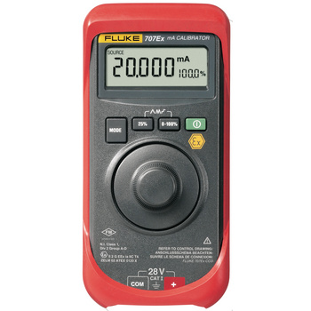 Handheld instrument for calibration, maintenance and repairs with high accuracy. Large wheel for easy one-hand manoeuvring and setting of parameters. Measures and powers a 4–20 mA current loop. Displays mA and % at the same time. Choice of fast or slow ra