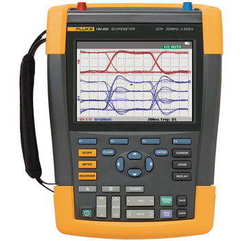 The Fluke ScopeMeter 190 Series II combines the highest safety ratings and rugged portability with the high performance of a bench oscilloscope. Designed for plant maintenance engineers and technicians, these tough ScopeMeter test tools go into harsh, dir