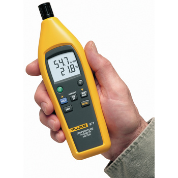 Backlit double display, integrated belt clip and protective holster<br /> Displays moisture and temperature at same time<br /> Dew point and evaporation temperature determination<br /> Storage capacity for up to 99 measuring values<br /> Quick-reacting capacity measuring sensor