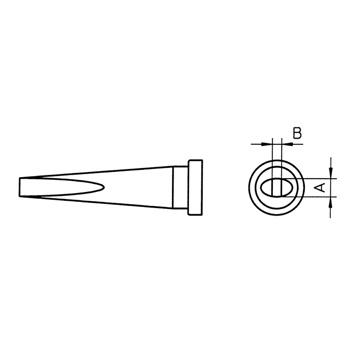 Weller soldering tip for WSP 80, WSP 80IG, WSP 80FE, FE 75 and MPR 80<br /> <br /> Model: LT K<br /> Description: Chisel Long<br /> Width: 1.2mm<br /> Length: 0.4mm<br /> 005 44 413 11