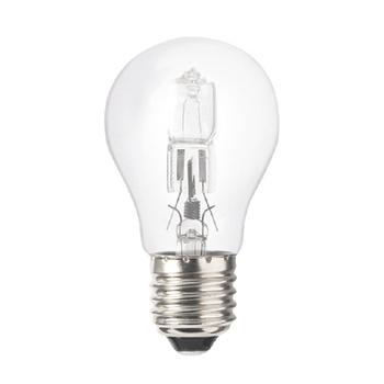 eco-halogeenlamp ter vervanging van A55-gloeilampen.<br /> Deze lamp is efficiënter en zorgt voor een hogere energiebesparing. Directe verlichting en wordt minder warm in vergelijking met gloeilampen.<br /> Voor zowel commerciële als huishoudelijke toepassingen.<br /> Dimb