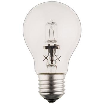 Kogelvormige halogeenlamp met E27-kap, 1 200 lumen en een energieverbruik van 70 watt. De lamp verspreidt een warm wit licht met een kleurtemperatuur van 2 800 kelvin.