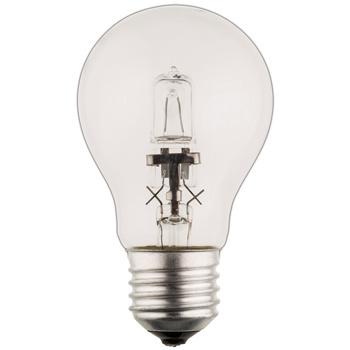 Klassieke GLS-vormige halogeenlamp met E27-kap, 850 lumen en een energieverbruik van 53 watt. De lamp verspreidt een warm wit licht met een kleurtemperatuur van 2 800 kelvin.