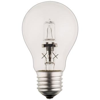 Klassieke GLS-vormige halogeenlamp met E27-kap, 630 lumen en een energieverbruik van 42 watt. De lamp verspreidt een warm wit licht met een kleurtemperatuur van 2 800 kelvin.
