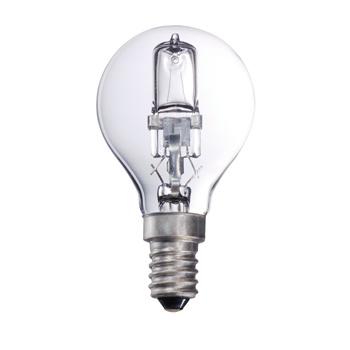 Kogelvormige halogeenlamp met E14-kap, 370 lumen en een energieverbruik van 28 watt. De lamp verspreidt een warm wit licht met een kleurtemperatuur van 2 800 kelvin.