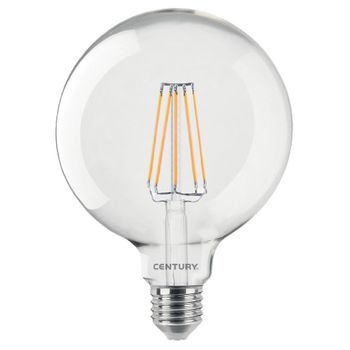 Currently the strongest filament globe on the market with only 10 watt consumption as a replacement for real 100 Watt light output with 1200 lumens. It has a 360° all-around radiation without heat-sink and a perfect light colour of 2700° Kelvin. Ideal for