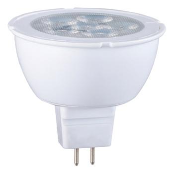 MR16-vormige LED-lamp met GU5.3-kap, 450 lumen en een zeer laag energieverbruik van 6 watt, ter vervanging van de traditionele 35-watt gloeilampen en voor directe energiebesparing. <br /> De lamp verspreidt een warm wit licht met een kleurtemperatuur van 2 700