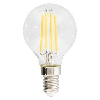 Retro Globevormige filament mini-LED-lamp en E27-fitting, 470 lumen en een zeer laag energieverbruik van 4,8 watt, ter vervanging van de traditionele 40-watt gloeilampen en voor directe energiebesparing. Deze lamp bespaart zelfs meer energie dan tradition