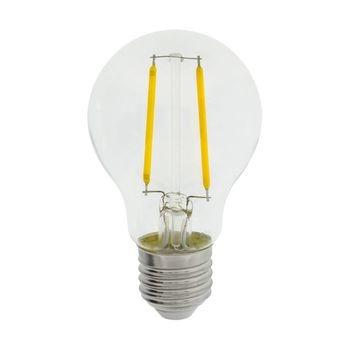 Retro A60-vormige filament LED-lamp en E27-fitting, 470 lumen en een zeer laag energieverbruik van 5.1 watt, ter vervanging van de traditionele 40-watt gloeilampen en voor directe energiebesparing. Deze lamp bespaart zelfs meer energie dan traditionele LE