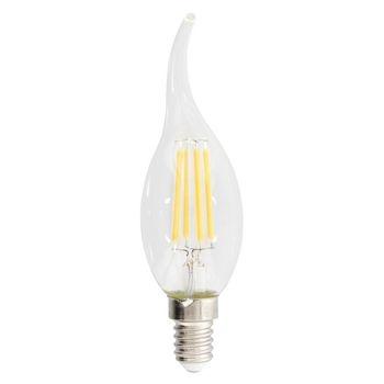 Retro Vlamvormige filament LED-lamp en E14-fitting, 470 lumen en een zeer laag energieverbruik van 4.8 watt, ter vervanging van de traditionele 40-watt gloeilampen en voor directe energiebesparing. Deze lamp bespaart zelfs meer energie dan traditionele LE