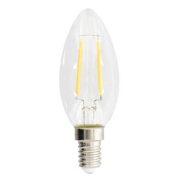 Retro Kaarsvormige filament LED-lamp en E14-fitting, 250 lumen en een zeer laag energieverbruik van 2,1 watt, ter vervanging van de traditionele 25-watt gloeilampen en voor directe energiebesparing. Deze lamp bespaart zelfs meer energie dan traditionele L