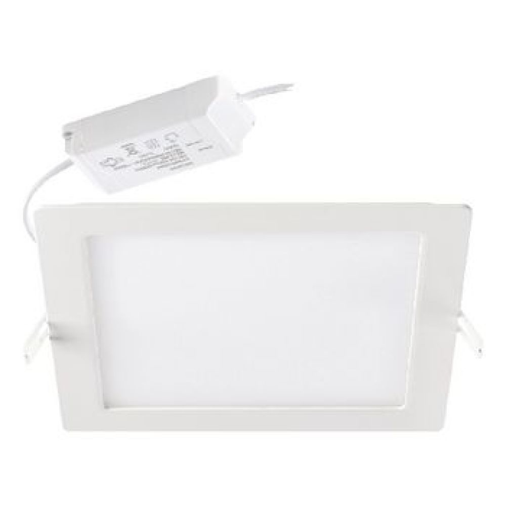 Integrated LED recessed downlight providing 1530 fixture lumens at a wattage of 18W giving a high efficacy of 85lm/W. Fitting includes Leading/Trailing edge phase dimmable driver and has a square ceiling cut out of 206x206mm with an IP20 and IK02 rating p